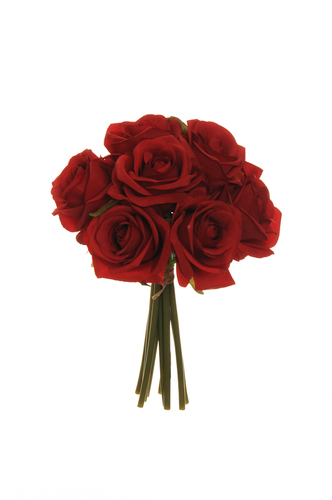 BRIDAL ROSE BUNDLE X9, 25 CM. red