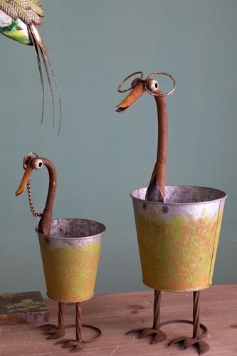Container duck h 35/49 cm - metal vase
