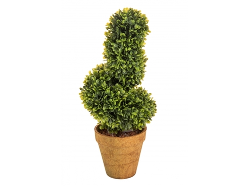 TOPIARY BOXWOOD SPIRAL with terracotta pot H 40 CM Ø 16 - artificial plant