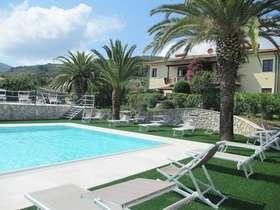h 32 mm erba bicolore giardino con palme e piscina