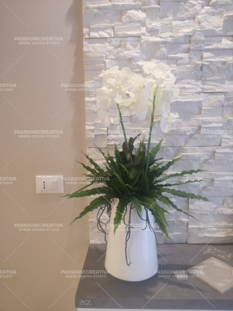 WHITE DENDROBIUM with ceramic pot